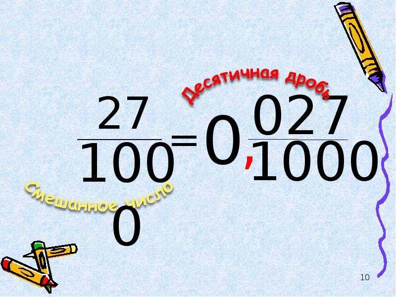 Смешанные числа. Математический диктант, слайд 10