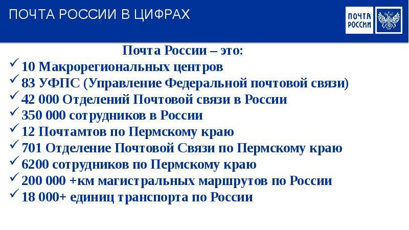 ПОЧТА РОССИИ В ЦИФРАХ Почта России – это: 10 Макрорегиональных центров 83 УФПС (Управление Федеральн