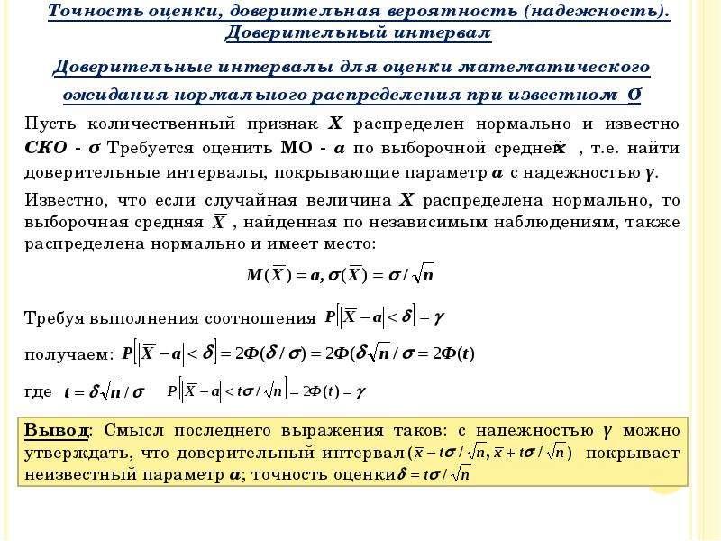 Доверительные интервалы для оценки математического ожидания нормального распределения при известном