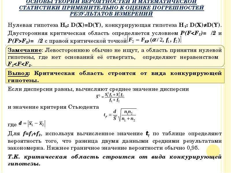Нулевая гипотеза H0: D(X)=D(Y), конкурирующая гипотеза H1: D(X)≠D(Y). Двусторонняя критическая облас