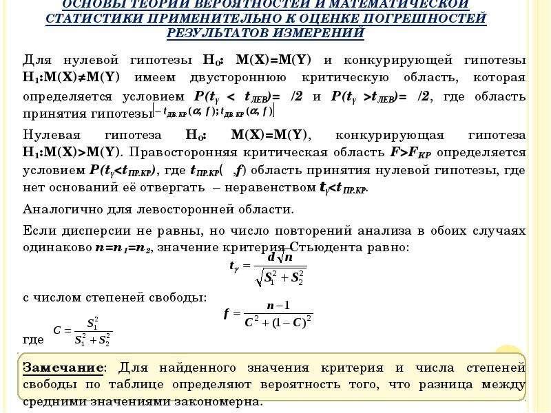 Для нулевой гипотезы H0: М(X)=М(Y) и конкурирующей гипотезы H1:М(X)≠М(Y) имеем двустороннюю критичес