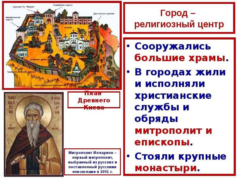 Город – религиозный центр Сооружались большие храмы. В городах жили и исполняли христианские службы