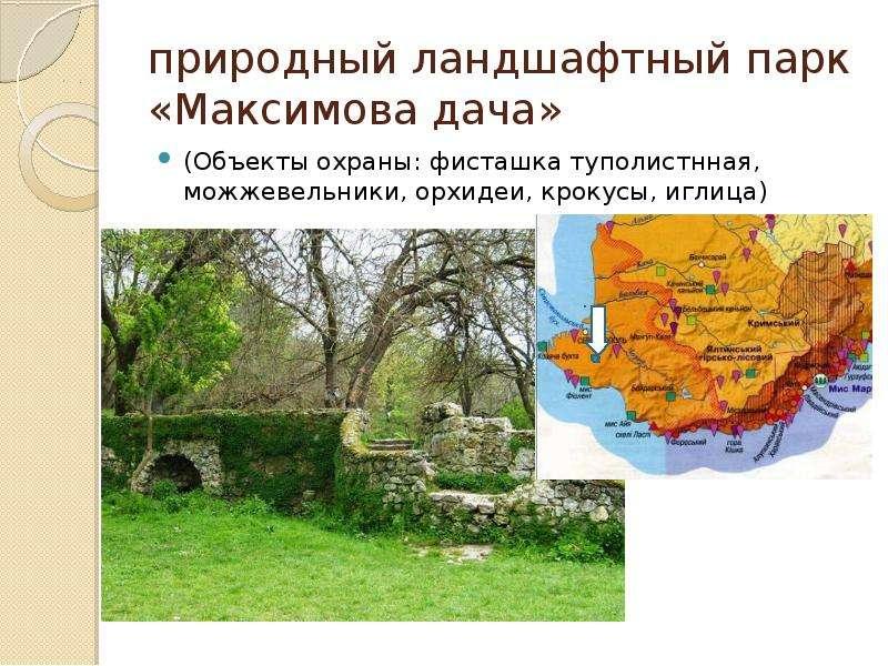 природный ландшафтный парк «Максимова дача» (Объекты охраны: фисташка туполистнная, можжевельники, о