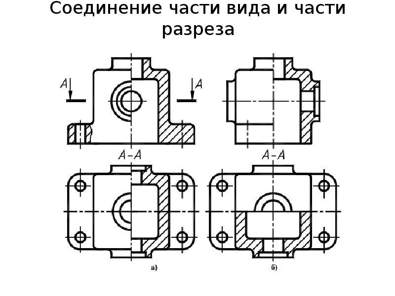 Соединение части вида и части разреза
