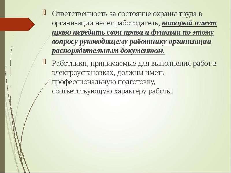 Ответственность за состояние охраны труда в организации несет работодатель, который имеет право пере