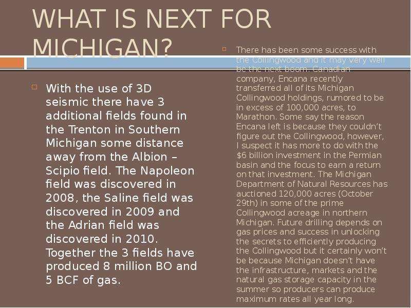WHAT IS NEXT FOR MICHIGAN? With the use of 3D seismic there have 3 additional fields found in the Tr