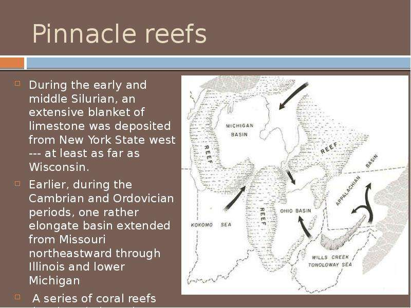 Pinnacle reefs During the early and middle Silurian, an extensive blanket of limestone was deposited