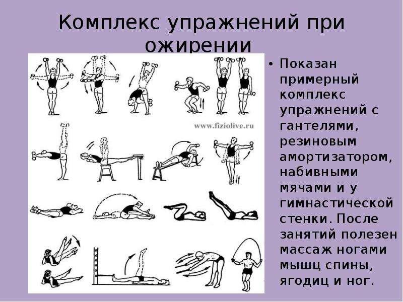 Комплекс упражнений при ожирении Показан примерный комплекс упражнений с гантелями, резиновым аморти