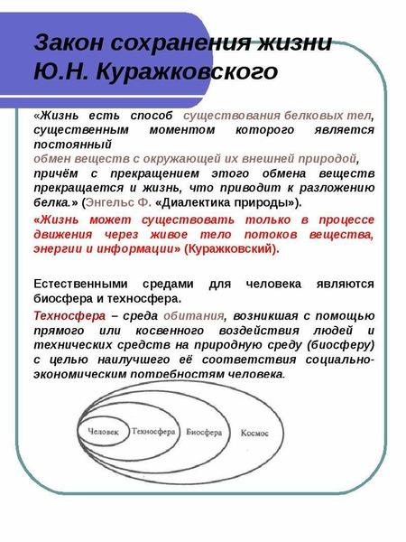 Закон сохранения жизни Ю. Н. Куражковского «Жизнь есть способ существования белковых тел, существенн