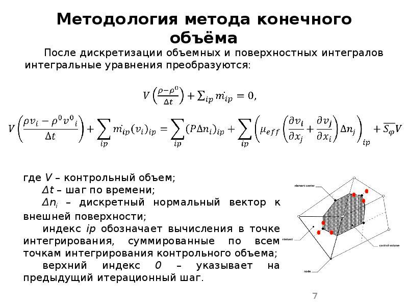 Методология метода конечного объёма После дискретизации объемных и поверхностных интегралов интеграл
