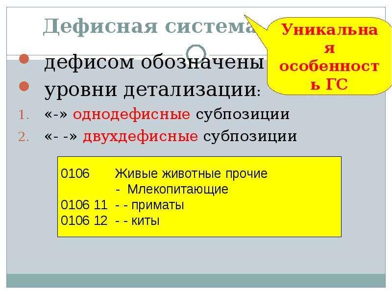 Дефисная система дефисом обозначены уровни детализации: «-» однодефисные субпозиции «- -» двухдефисн