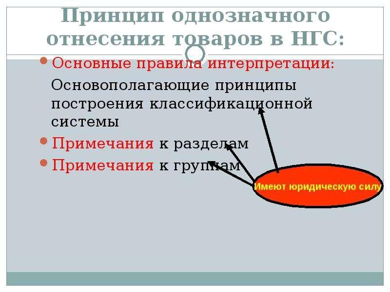 Принцип однозначного отнесения товаров в НГС: Основные правила интерпретации: Основополагающие принц