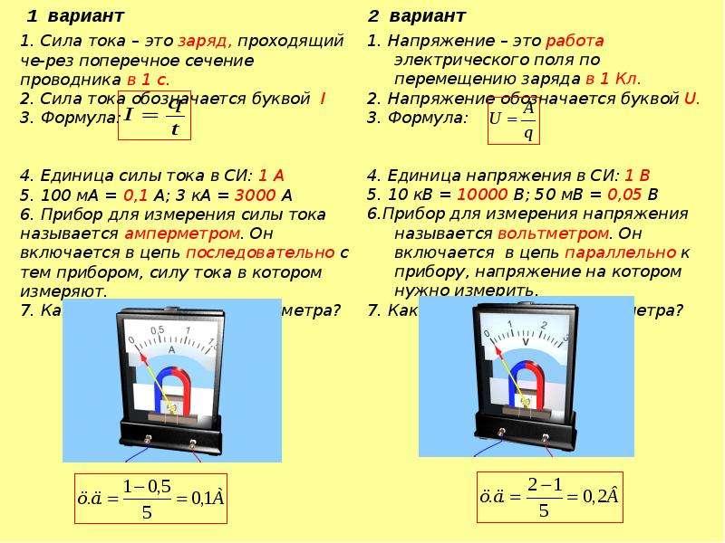 Зависимость силы тока от напряжения. Сопротивление проводника