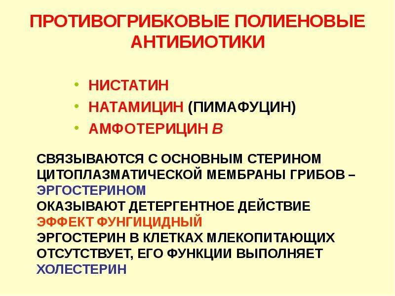 НИСТАТИН НИСТАТИН НАТАМИЦИН (ПИМАФУЦИН) АМФОТЕРИЦИН В