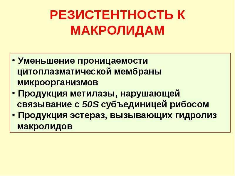 РЕЗИСТЕНТНОСТЬ К МАКРОЛИДАМ
