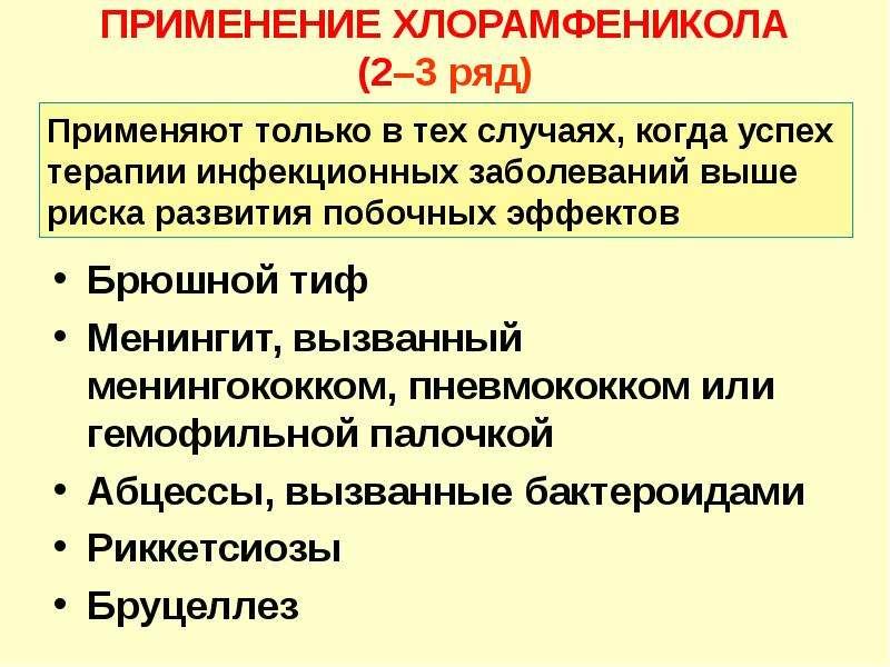ПРИМЕНЕНИЕ ХЛОРАМФЕНИКОЛА (2–3 ряд) Брюшной тиф Менингит, вызванный менингококком, пневмококком или