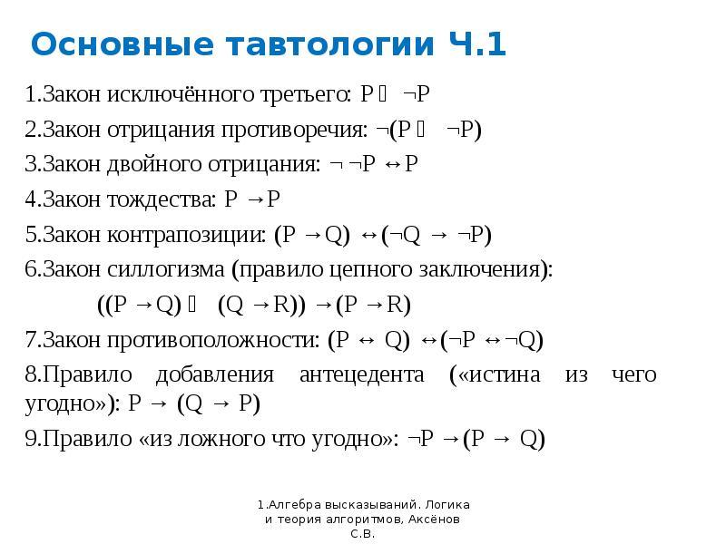 Основные тавтологии Ч. 1