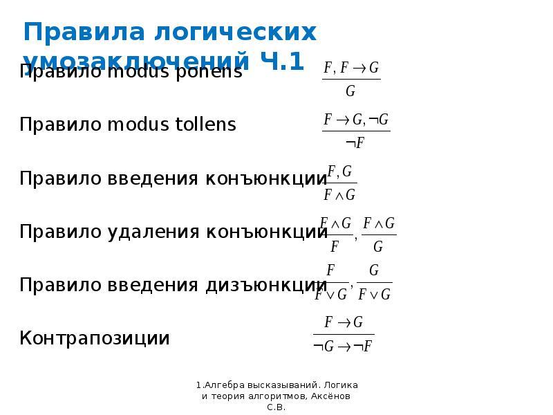 Правила логических умозаключений Ч. 1