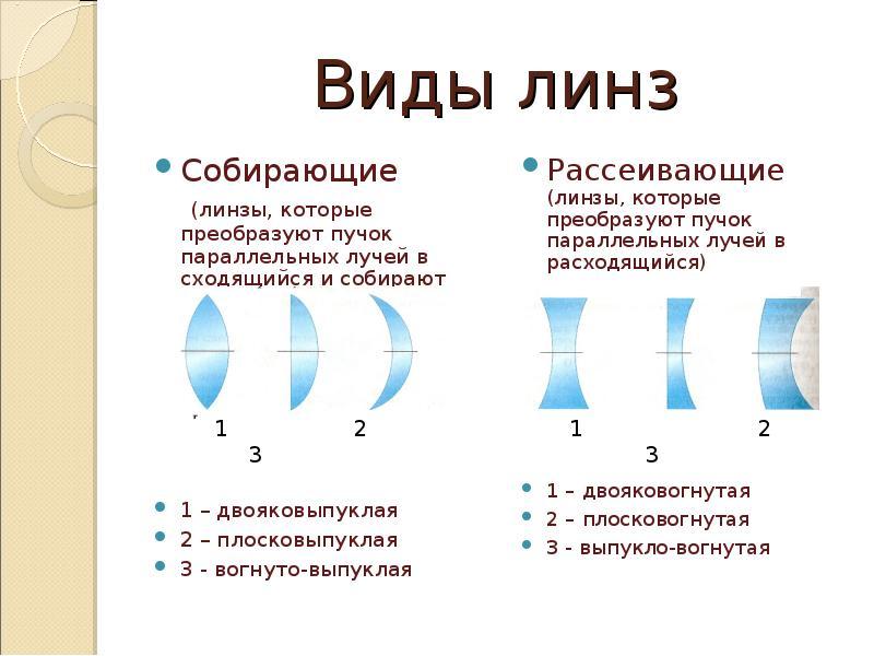 Виды линз Собирающие (линзы, которые преобразуют пучок параллельных лучей в сходящийся и собирают ег