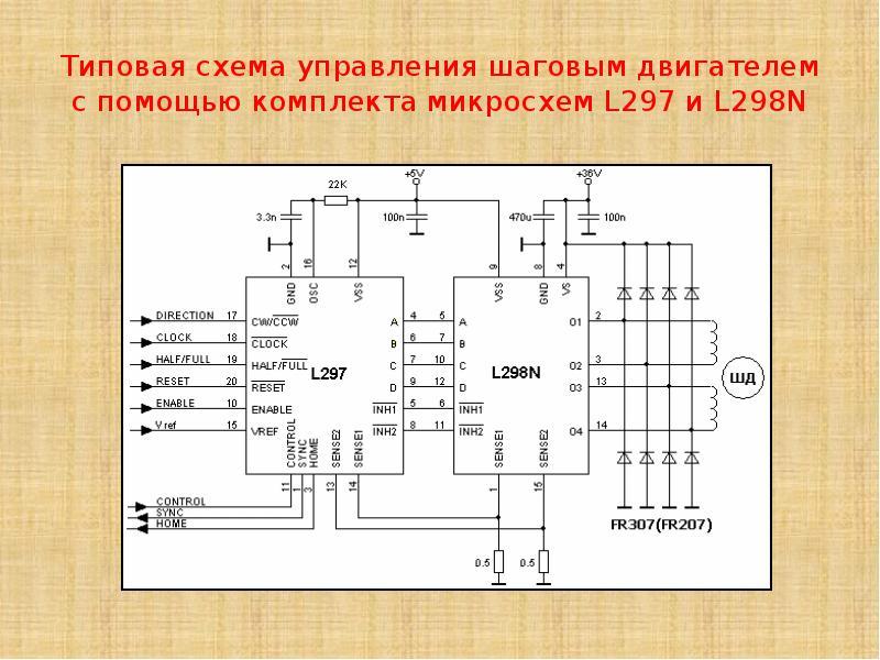 Типовая схема управления шаговым двигателем с помощью комплекта микросхем L297 и L298N