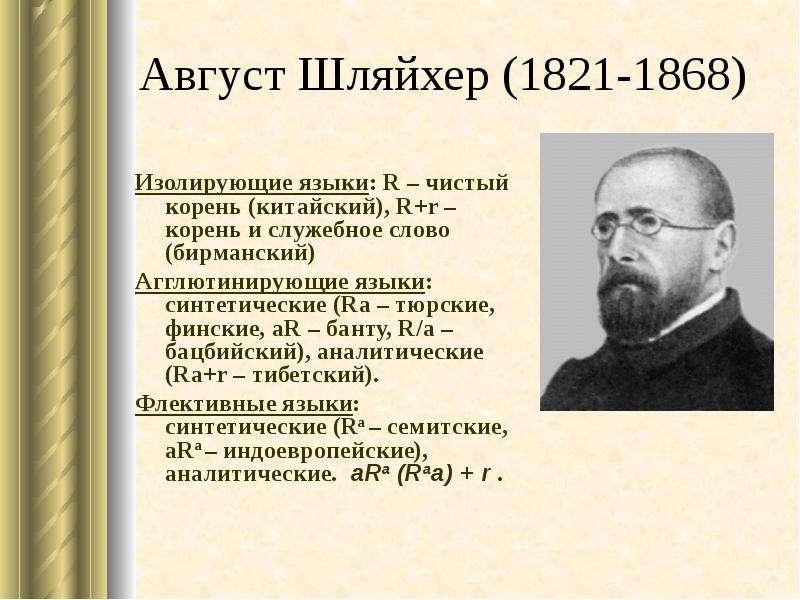 Август Шляйхер (1821-1868) Изолирующие языки: R – чистый корень (китайский), R+r – корень и служебно