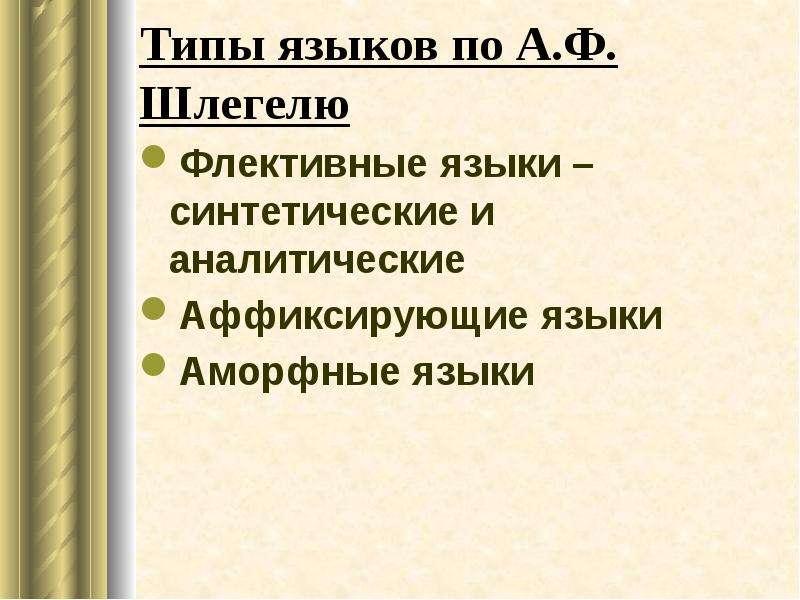 Типы языков по А. Ф. Шлегелю Флективные языки – синтетические и аналитические Аффиксирующие языки Ам