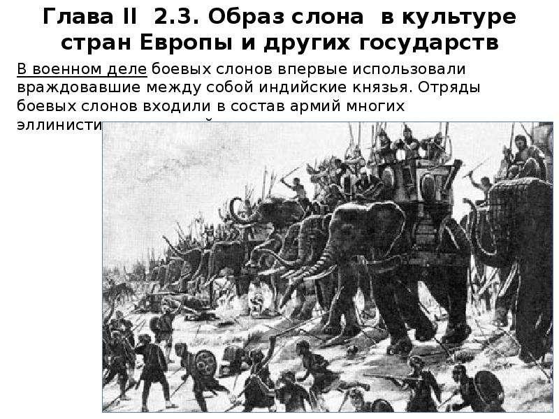 В военном деле боевых слонов впервые использовали враждовавшие между собой индийские князья. Отряды