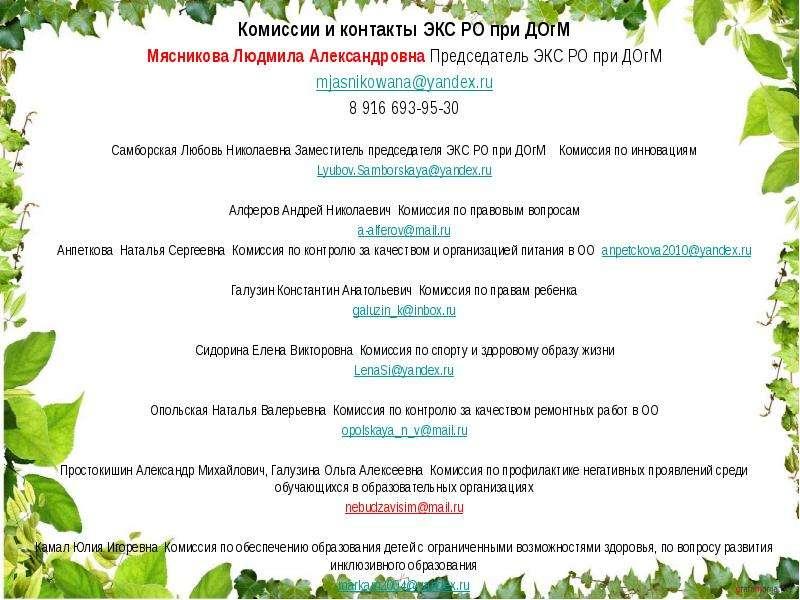 Комиссии и контакты ЭКС РО при ДОгМ Комиссии и контакты ЭКС РО при ДОгМ Мясникова Людмила Александро
