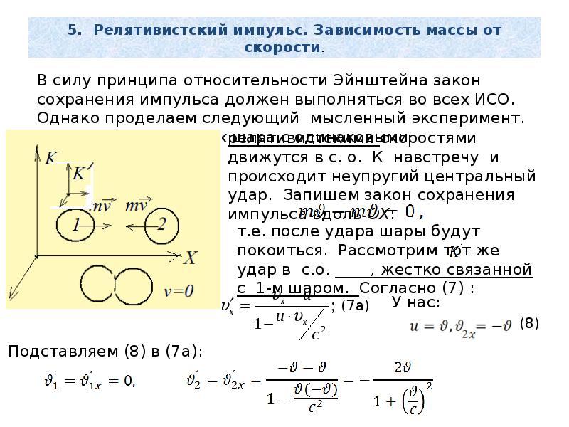 5. Релятивистский импульс. Зависимость массы от скорости.