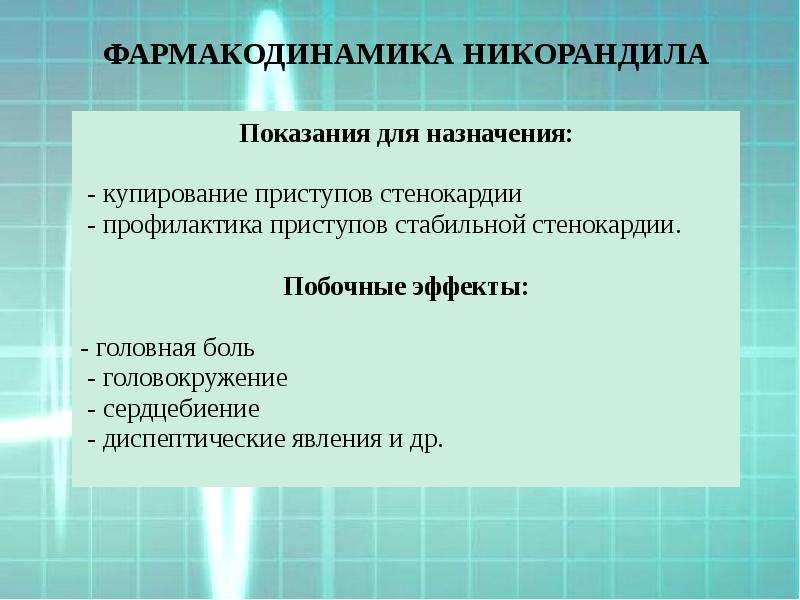 ФАРМАКОДИНАМИКА НИКОРАНДИЛА