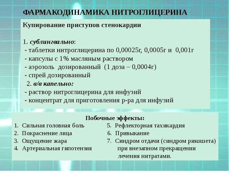 ФАРМАКОДИНАМИКА НИТРОГЛИЦЕРИНА Купирование приступов стенокардии 1. сублингвально: - таблетки нитрог