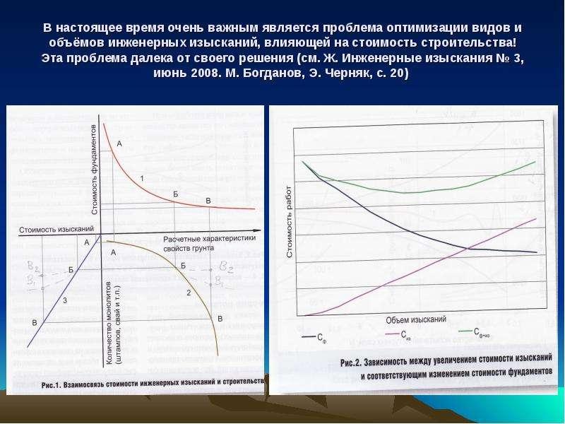 В настоящее время очень важным является проблема оптимизации видов и объёмов инженерных изысканий, в