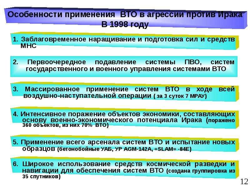 2. Первоочередное подавление системы ПВО, систем государственного и военного управления системами ВТ