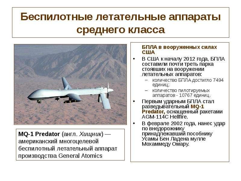 Беспилотные летательные аппараты среднего класса БПЛА в вооруженных силах США В США к началу 2012 го