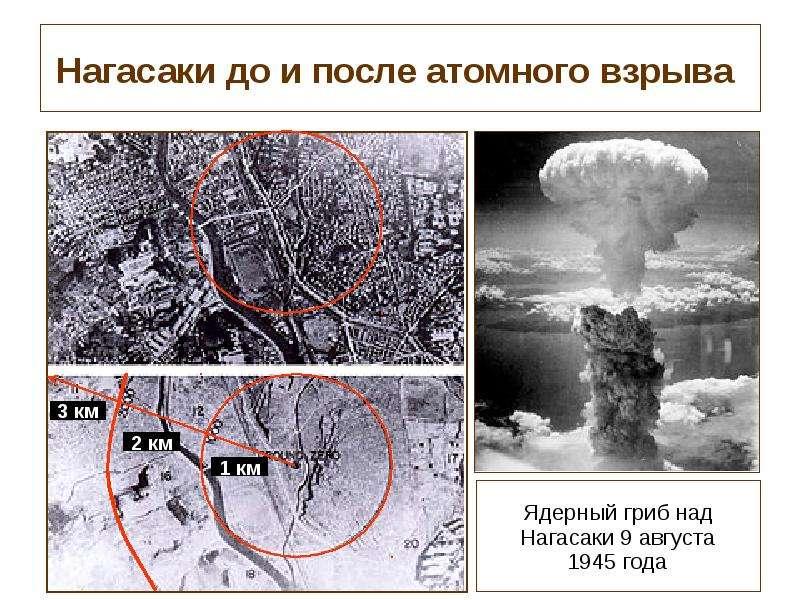 Нагасаки до и после атомного взрыва Ядерный гриб над Нагасаки 9 августа 1945 года