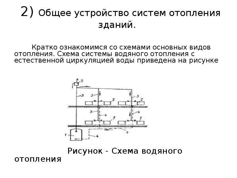2) Общее устройство систем отопления зданий. Кратко ознакомимся со схемами основных видов отопления.