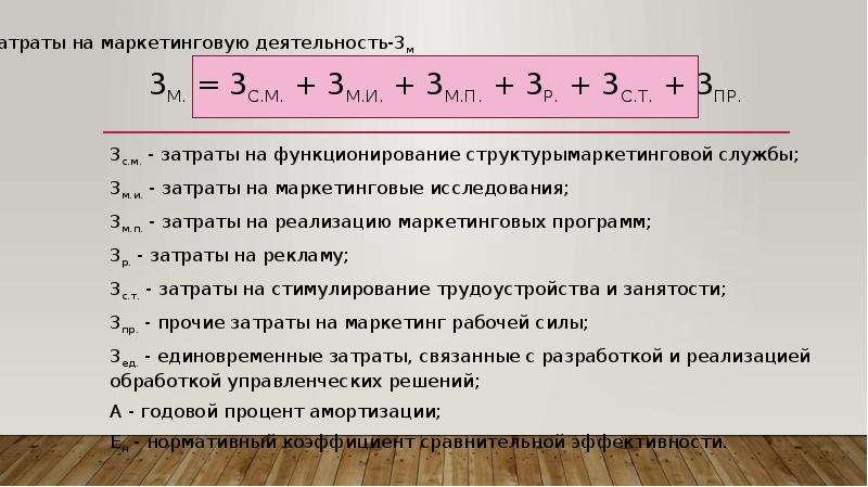 3м. = 3с. м. + 3м. и. + 3м. п. + 3р. + 3с. т. + 3пр. 3с. м. - затраты на функционирование структурым