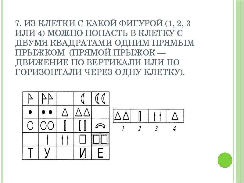 7. Из клетки с какой фигурой (1, 2, 3 или 4) можно попасть в клетку с двумя квадратами одним прямым