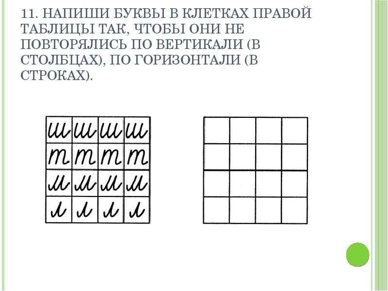 11. Напиши буквы в клетках правой таблицы так, чтобы они не повторялись по вертикали (в столбцах), п