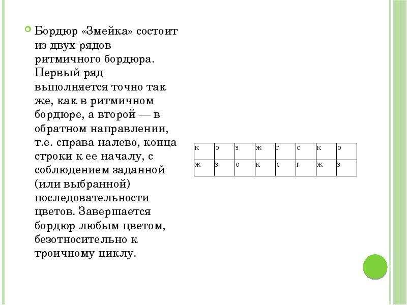 Бордюр «Змейка» состоит из двух рядов ритмичного бордюра. Первый ряд выполняется точно так же, как в