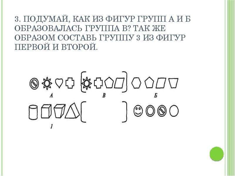 3. Подумай, как из фигур групп А и Б образовалась группа В? Так же образом составь группу 3 из фигур
