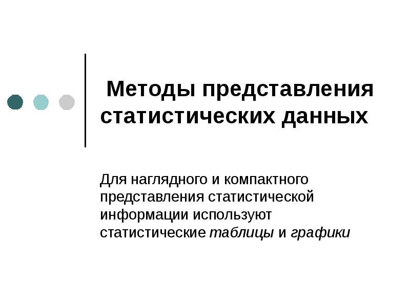 Презентация Методы представления статистических данных