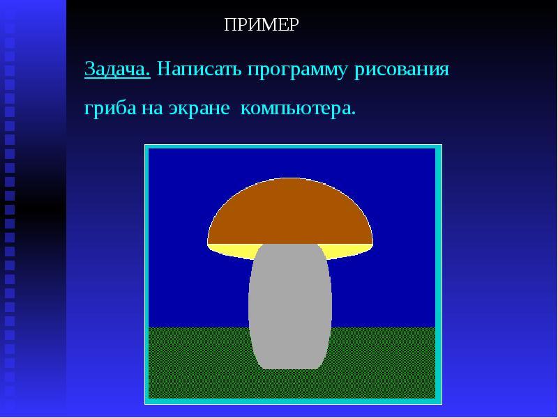 Задача. Написать программу рисования гриба на экране компьютера.
