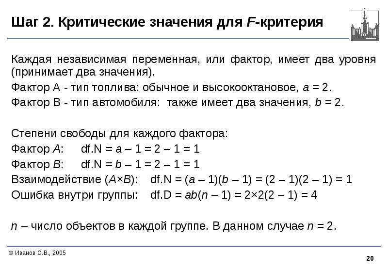Шаг 2. Критические значения для F-критерия Каждая независимая переменная, или фактор, имеет два уров