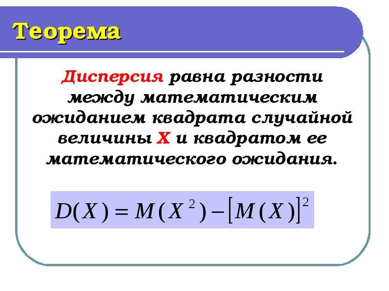 Теорема Дисперсия равна разности между математическим ожиданием квадрата случайной величины Х и квад