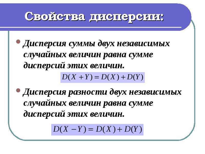 Свойства дисперсии: Дисперсия суммы двух независимых случайных величин равна сумме дисперсий этих ве