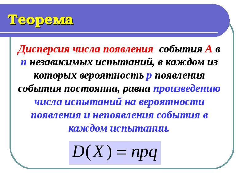 Теорема Дисперсия числа появления события А в п независимых испытаний, в каждом из которых вероятнос