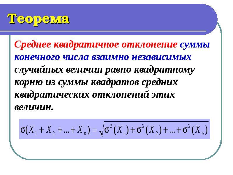 Теорема Среднее квадратичное отклонение суммы конечного числа взаимно независимых случайных величин