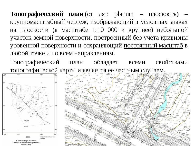 Топографический план (от лат. planum – плоскость) – крупномасштабный чертеж, изображающий в условных