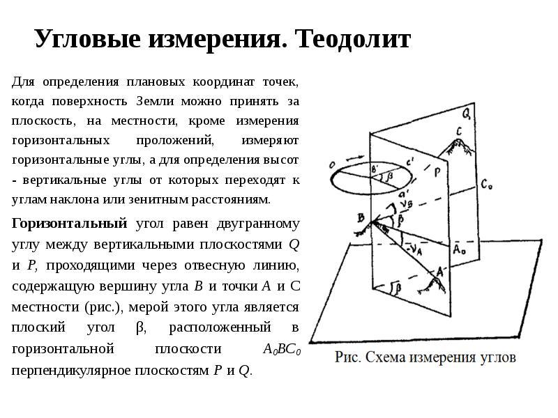 Угловые измерения. Теодолит Для определения плановых координат точек, когда поверхность Земли можно